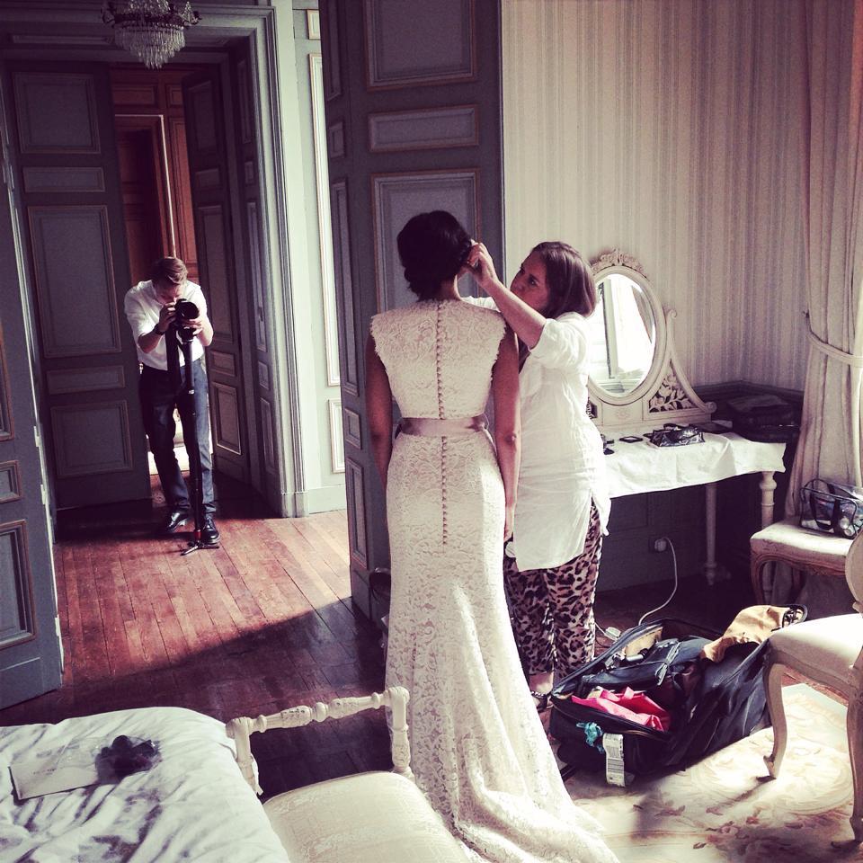 Bridal hair and makeup at Chateau La Durantie