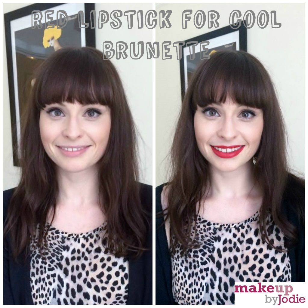 red lipstick for cool skinned brunettes before after