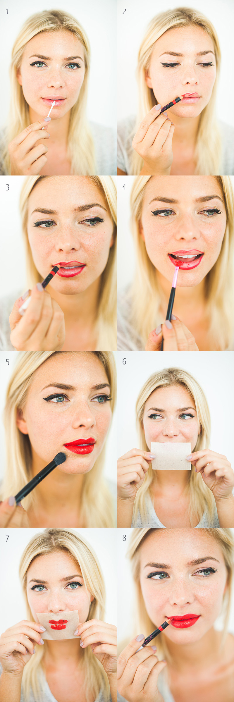 how to apply lipstick with a brush tutorial