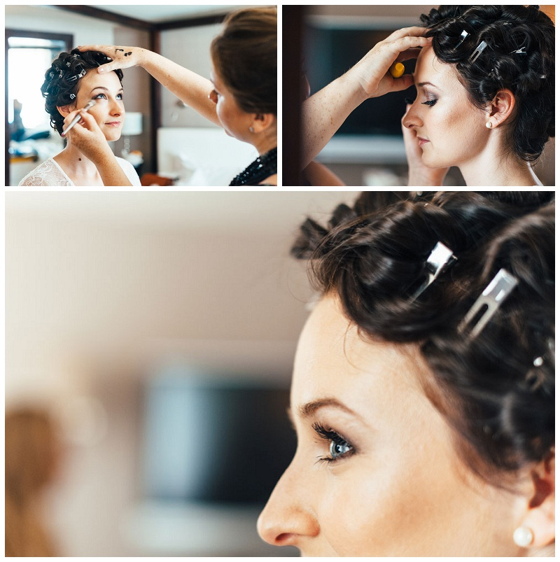 wedding hair and makeup at The George in Rye