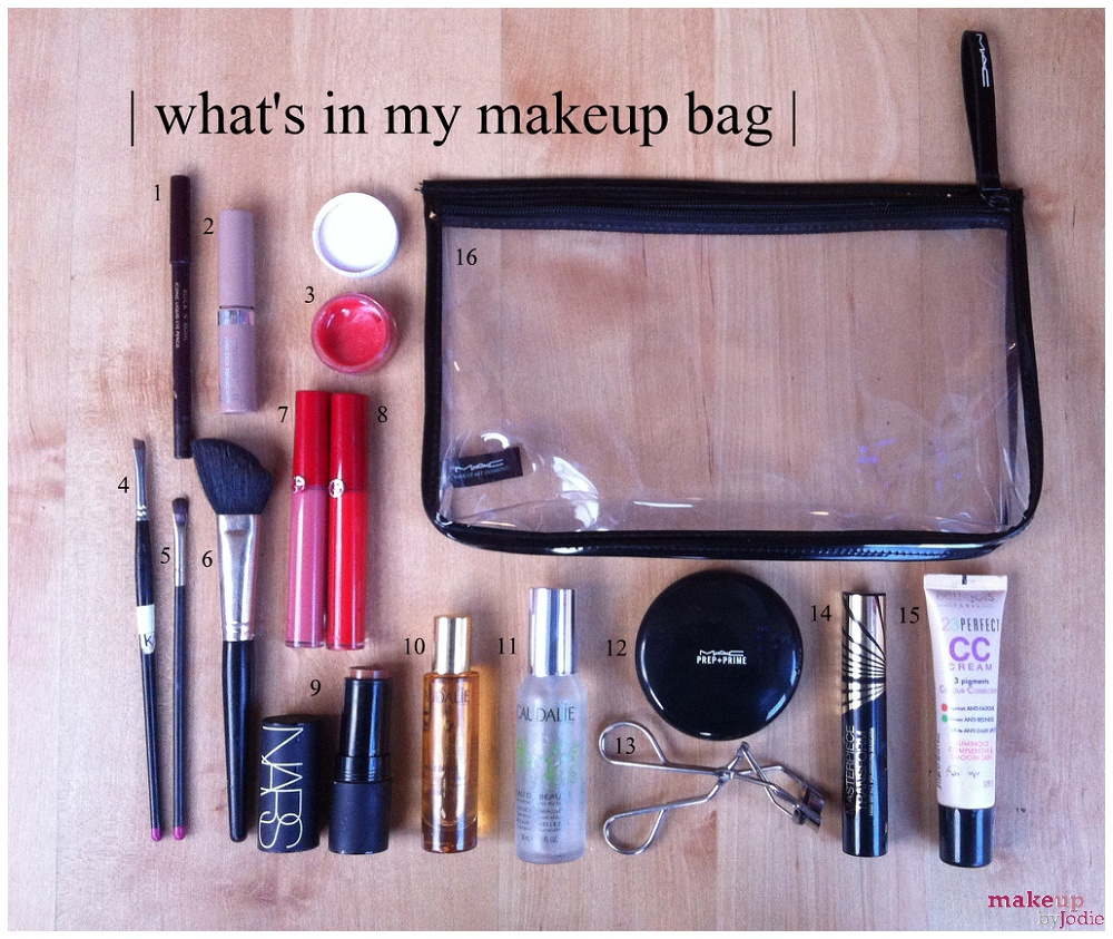 Whats in my makeup bag numbered