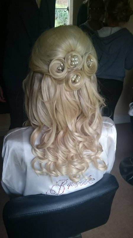 Blonde Cheshire bride with bridal hair.
