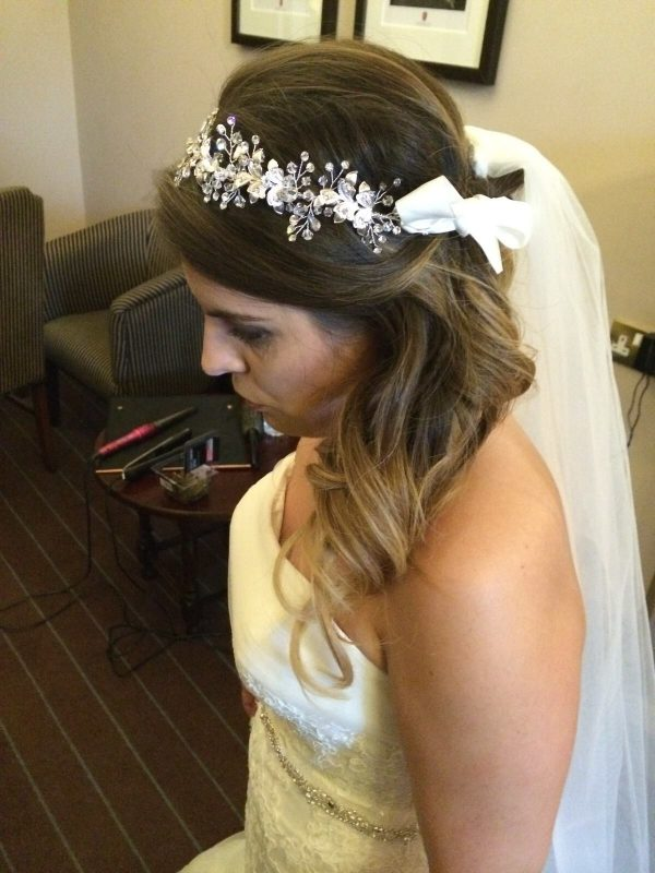 Brunette Cheshire bride with bridal hair.