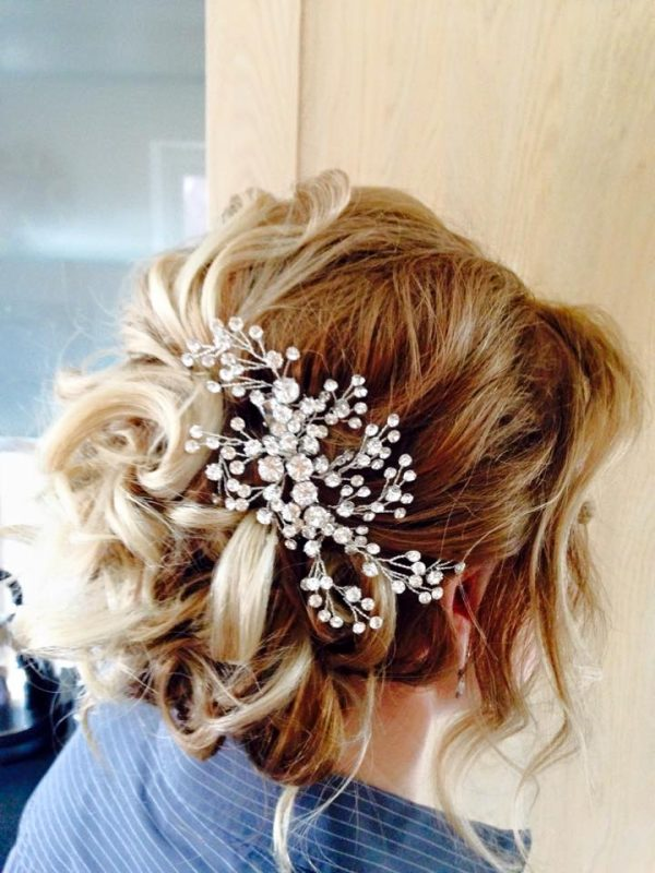 Cheshire bride with wedding hair.