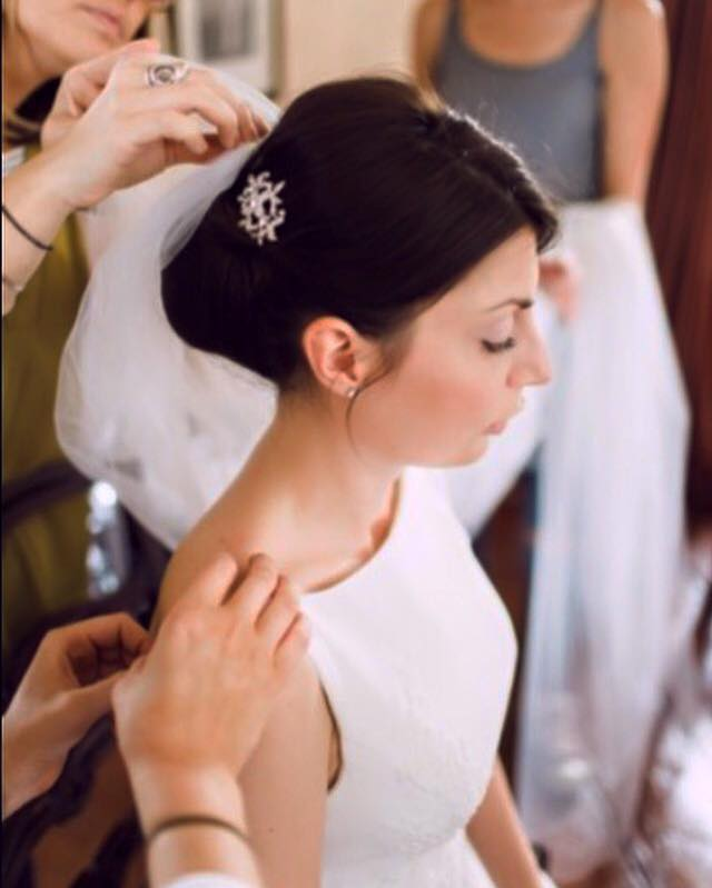 Guildford bride in hair and makeup.