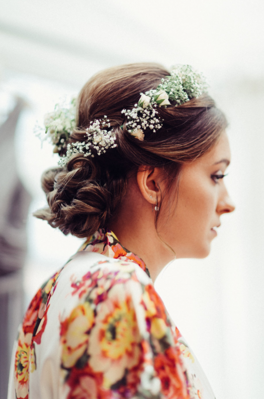 Guildford bride in full hair and makeup.