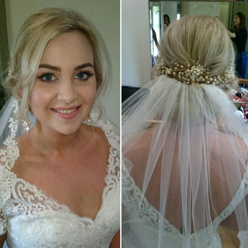 Cheshire bride smiling in Hair and Makeup.