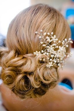 Blonde kent bride's wedding hair.