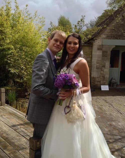 bride and groom in wedding makeup cotswolds