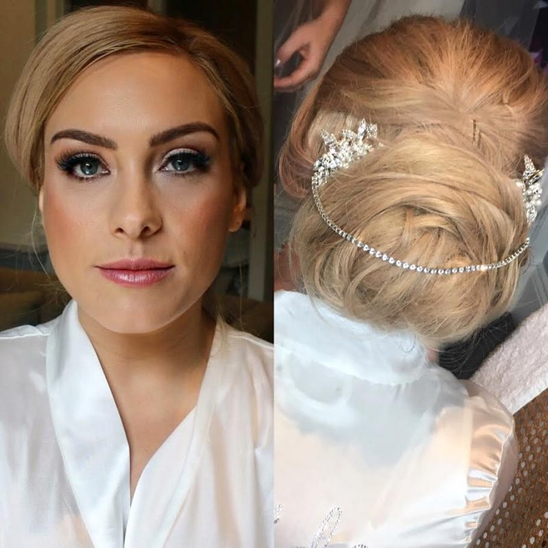 a bride wearing makeup on her wedding day