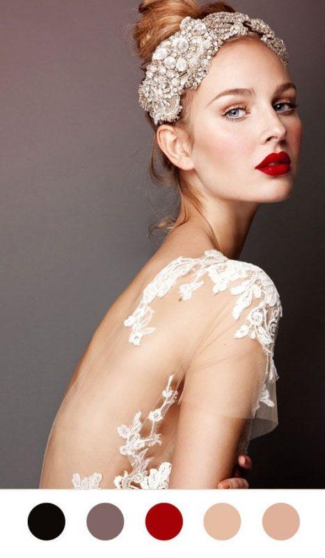 bridal makeup inspiration using a bold lipstick