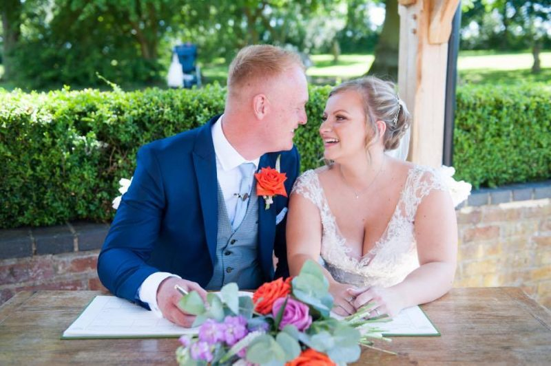 Bride and groom on wedding day with brides makeup by Solihull Makeup Artist