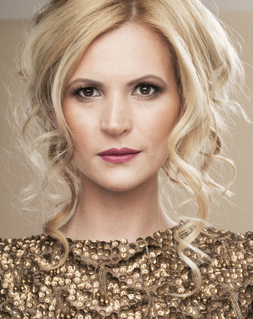 Blonde lady showcases her face of makeup by west midland makeup artist