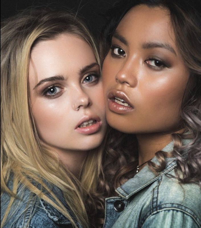 Two models showcases their face of makeup on her wedding day by west midland makeup artist